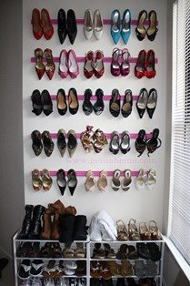 DIY shoe shelf on wall